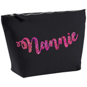 Nannie Personalised Name Cotton Canvas Black Make Up with a Holographic Pink Print Accessory Bag Wash Bag Size 14x20cm. The perfect personalised Gift for All occasion, Christmas, Birthdays,