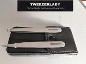TWEEZERLADY SLANTED AND POINTED TWEEZERS SET - Silver Set