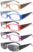 5-Pack Spring Hinges Polka Dots Patterned Temples Reading Glasses Sun Readers +1.25