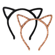Cat Ear Headband Hair Hoop Headband for Party and Daily Decoration, Black and Leopard, 2 Pieces