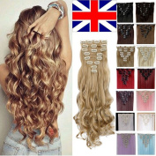 S-noilite® 60cm Curly Ash Blonde Full Head Hairpiece Clip in Hair Extensions 8 Piece 18 Clips New Products Trendy Design Fashion Women Choice