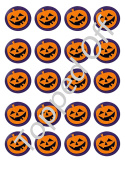 20 x Round Pre-cut Fondant Halloween Pumpkin edible cup cake topper decorations by Topped Off