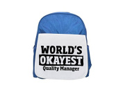 World's Okayest Quality Manager printed kid's blue backpack, Cute backpacks, cute small backpacks, cute black backpack, cool black backpack, fashion backpacks, large fashion backpacks, black fashion b