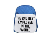 THE 2ND BEST Employee IN THE WORLD printed kid's blue backpack, Cute backpacks, cute small backpacks, cute black backpack, cool black backpack, fashion backpacks, large fashion backpacks, black fashio