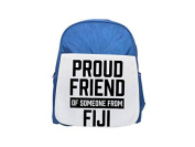 Proud friend of someone from Fiji printed kid's blue backpack, Cute backpacks, cute small backpacks, cute black backpack, cool black backpack, fashion backpacks, large fashion backpacks, black fashion