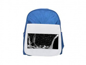 Scifi rocket retro futuristic. printed kid's blue backpack, Cute backpacks, cute small backpacks, cute black backpack, cool black backpack, fashion backpacks, large fashion backpacks, black fashion ba