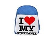 I LOVE MY STEPHANIE printed kid's blue backpack, Cute backpacks, cute small backpacks, cute black backpack, cool black backpack, fashion backpacks, large fashion backpacks, black fashion backpack