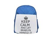 Handle it BRAELYN Keep calm printed kid's blue backpack, Cute backpacks, cute small backpacks, cute black backpack, cool black backpack, fashion backpacks, large fashion backpacks, black fashion back