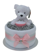 Cute Pink 'Polar Bear' Winter Baby Girl Nappy Cake New Baby Gift Hamper - FAST & FREE UK Delivery