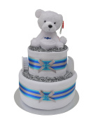 Lovely Winter Polar Bear 2 Tier Nappy Cake New Baby Shower Gift Hamper - FAST & FREE UK Delivery!