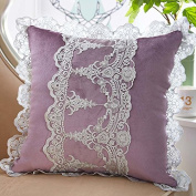 Baozengry Car Office Sofa Pillow Lace,45X45Cm (With High Quality Core),Lilac Colour