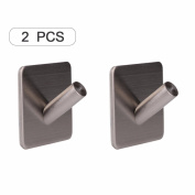 YiZYiF Stainless Steel Wall Hanging Hooks Heavy Duty Adhesive Stick On, for Towel Loofah Bathrobe Clothes, Bathroom Kitchen Wall Towel Hooks 2Pcs One Size