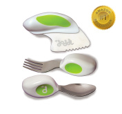Doddl Cutlery Set Lime Green - Knife, fork and spoon set. For babies or children 12+ months old. Help teach your baby or toddler to self-feed with ease using cutlery in the right way.