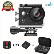 Action Camera 4K HD Daping Sport Camera Waterproof 30M WiFi with Remote Control Action Cam 1080p 170° Wide Angle 2.0 LCD 2 Batteries + Carrying Bag + Accessories Kit, Black