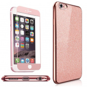 iPhone 5 / 5S / Se Case , NWNK13® Rose Bling / Sparkling / TPU / Electroplate Back Case With Matching Colour Fibre Front Temper Screen Protector Plus Branded Card Organiser