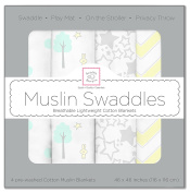 SwaddleDesigns X-Large Cotton Muslin Swaddle Blanket, Woodland Fun, SeaCrystal, Set of 4
