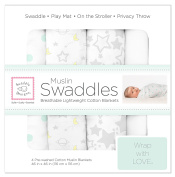 SwaddleDesigns X-Large Cotton Muslin Swaddle Blankets, Goodnight Starshine, Sterling, Set of 4