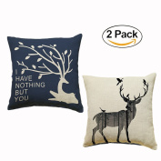 Cushion Covers, Chickwin 2PC 45 x 45cm Nordic Style Linen Cushion Cover Pillow cases Decorative Throw Pillow Case Home Sofa Bedding Décor