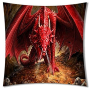 A-SLLE Square Unique Decorative Throw Pillow Case Cushion Cover Dragon Design 18 X 18 Two Sides Printed 91