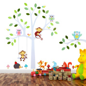 TALINU Wall Stickers Tree with Leaves and Animals   2 Year Satisfaction Guarantee   wall sticker, wall decals, wall stickers for bedrooms, wall decoration nursery - for smooth, clean and dry surfaces