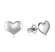 Cdet 1Pair Cute Heart Earring Silver Ear Studs Gift