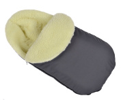 Comfortable Baby Sleeping Bag to Pushchairs Footmuff Cover Wool With a hoodie Graphit avec capuche [071]