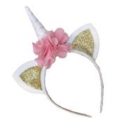 AAA226 Cute Unicorn Horn Ears Flower Headband Headdress Kids Party Headwear Decoration