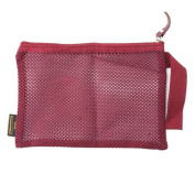 Pu Ran Women Portable Nylon Mesh Makeup Case Cosmetic Bag Pouch Toiletry Organiser - Wine Red