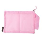 Pu Ran Women Portable Nylon Mesh Makeup Case Cosmetic Bag Pouch Toiletry Organiser - Pink