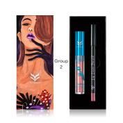 Long Lasting Waterproof Matte liquid Metallic Pearlescent Lip Gloss Lipstick with Lip Liner Pencil Cosmetic Set Greatlizard