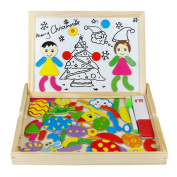 Wooden Jigsaw Puzzles, Drawing Writing Board Double Side Magnet Blocks Black/White Board Christmas Gift for Children 3 4 5 6