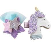 CosCosX 2 Pcs Unicorn Star Hairpin Barrette Child Hair Accessory, Christmas New Year Party Supplies Gifts