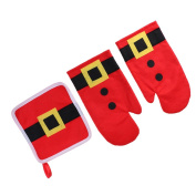 Blesiya 3/set Christmas Red Oven Gloves & Insulating Mat Xmas Home Decoration