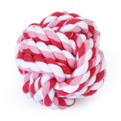 EXOH 7cm Pet Dog Braided Cotton Rope Knot Ball Chew Toys Teeth Cleaning Ball-Random Colour