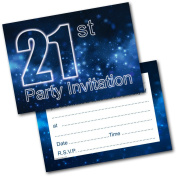 *NEW* Pack of 20 21st Birthday Party Invitations Male Invites with Envelopes