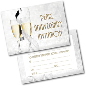 *NEW* Pack of 20 Pearl Anniversary Champagne Glasses Invitations Invites with Envelopes