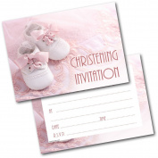 *NEW* Pack of 20 Christening Invites Baby Shoes Girl Invitations with Envelopes