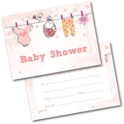 *NEW* Pack of 20 Baby Shower Invites Baby Clothes Pink Invitations with Envelopes