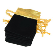 Nacpy Velvet Drawstring Gift Bags Party Favours Gold Satin Wedding Favour Bags Jewellery Pouches Black 10 pcs