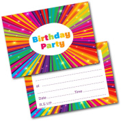 *NEW* Pack of 20 Kids Birthday Party Kaleidoscope Invitations Invites with Envelopes