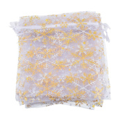 JuneJour 50Pcs Christmas Organza Gift Bags Xmas Snowflake Candy Storage Pouches Wrap Party Favours Wedding Party Presents with Drawstring 12cmx16cm