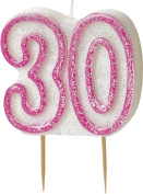 WOW GLITTER PINK 30th Birthday Candle