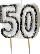 WOW GLITTER BLACK/SILVER 50th Birthday Candle