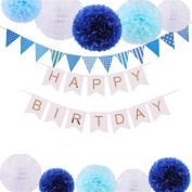 VEYLIN Happy Birthday Decorations Banner with Tissue Pom Poms for Baby Boy