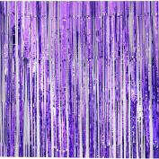 JuneJour 1m x 2m Fringe Foil Curtains Window Door Tassel Garlands for Backdrop Christmas Birthday Wedding Ceremony Backaground Purple