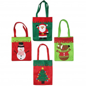 4 Large Christmas Xmas Felt Gift Bags & FREE STICKERS