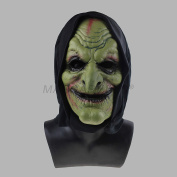 MASCARELLO®Adult Halloween Green Scary Clown Mask Soft Foam Black Hooded Mask