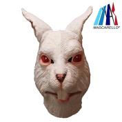 MASCARELLO® White Rabbit Latex Full Overhead Animal Mask Halloween Party Costume Mask