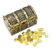 YNuth Pirate Treasure Chest 100 Plastic Play Gold Treasure Coins for Kids' Party