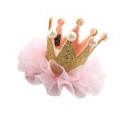 Haodou Baby Chiffon Flower Crown Hair Clip Lace Flower Hairpin Infant Kids Girls Party Pearl Princess Headwear Gold